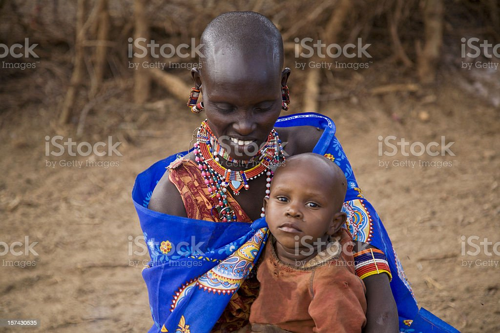 Young masai woman with child. Kenya Esst Africa. stock photo