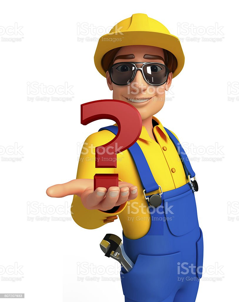 Young Mechanic with question mark royalty-free stock photo