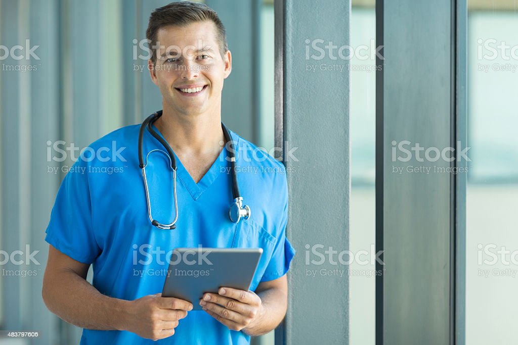 young medical doctor in clinic stock photo