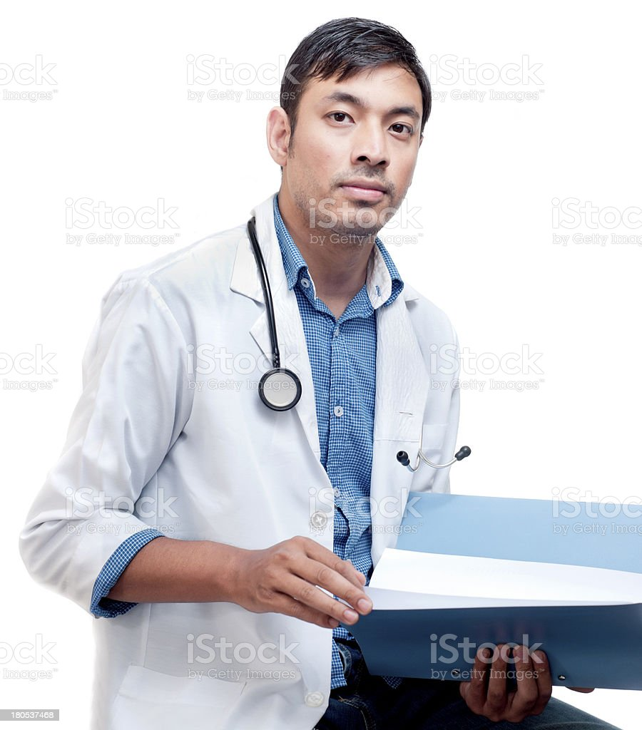 Young Medical Doctor with Patient Record royalty-free stock photo