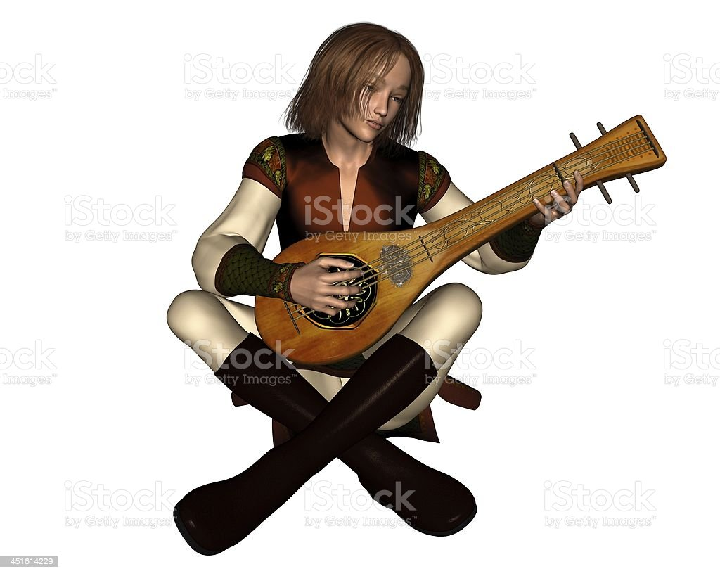 Young Medieval Minstrel with Lute stock photo