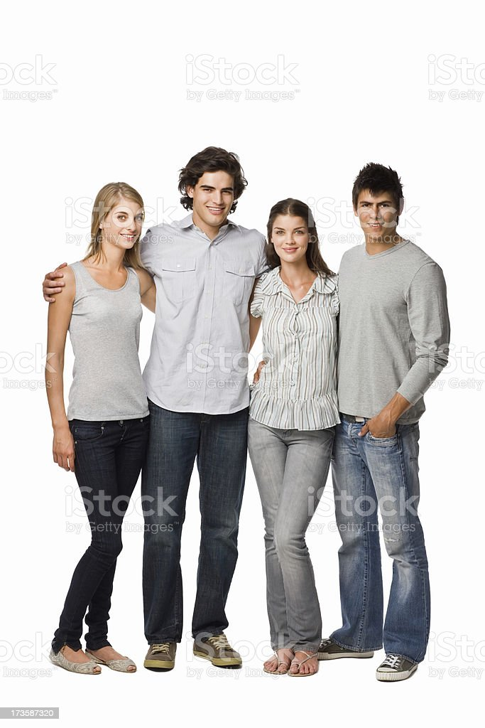 Young men and women standing together royalty-free stock photo