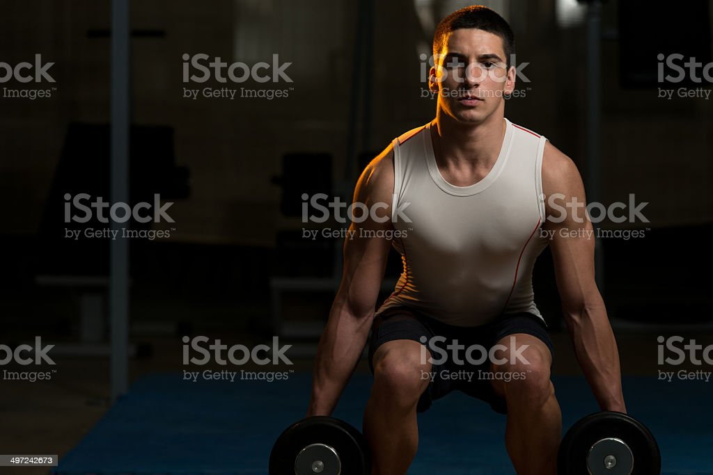 Young Men Doing Squats With Dumbbell In Gym stock photo