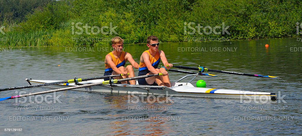 Young men in Pairs Sculling stock photo