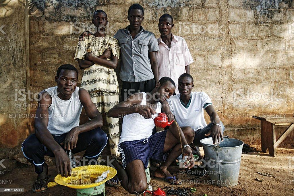 Young men making ataya tea. stock photo