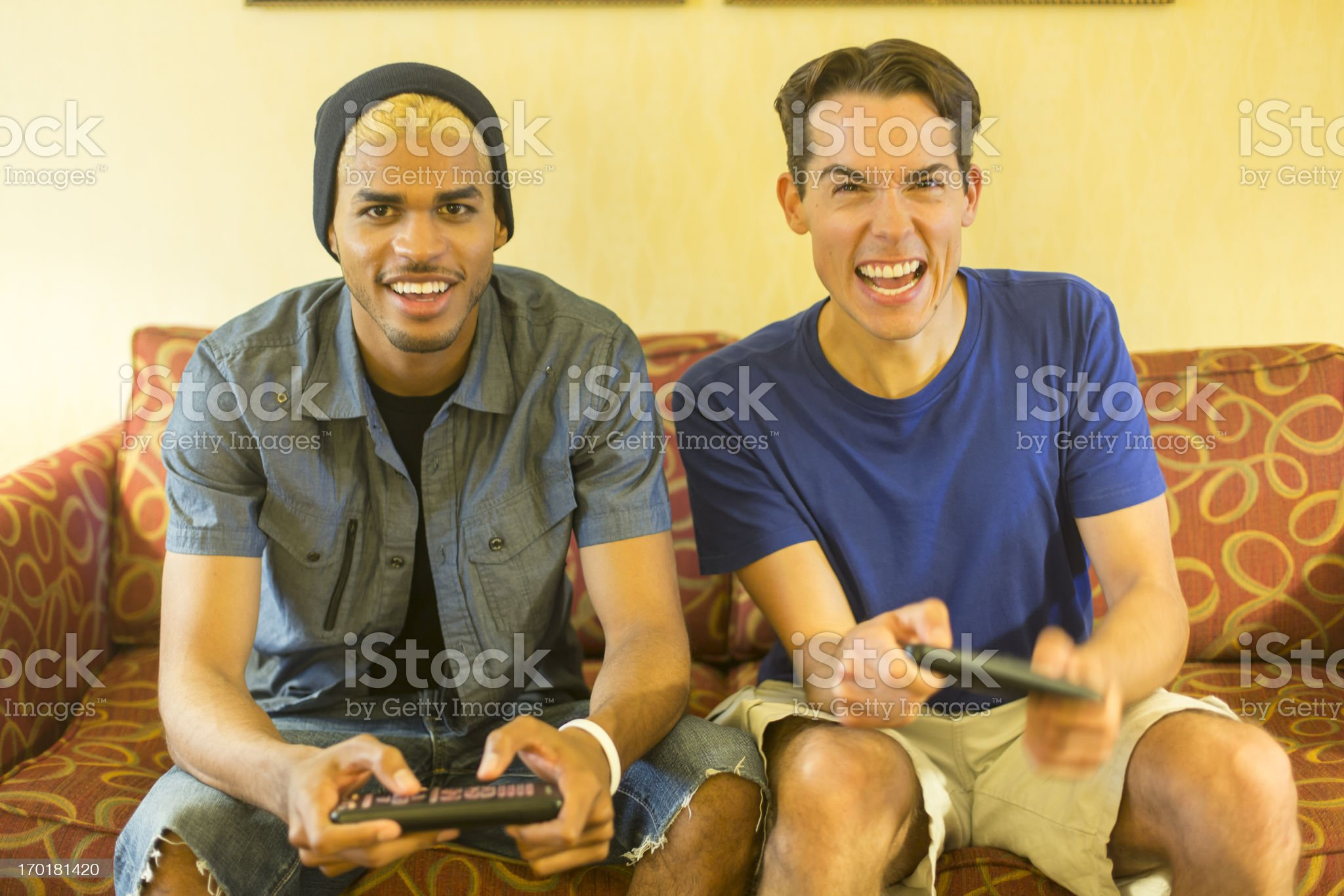 Young Men Playing Computer Games royalty-free stock photo