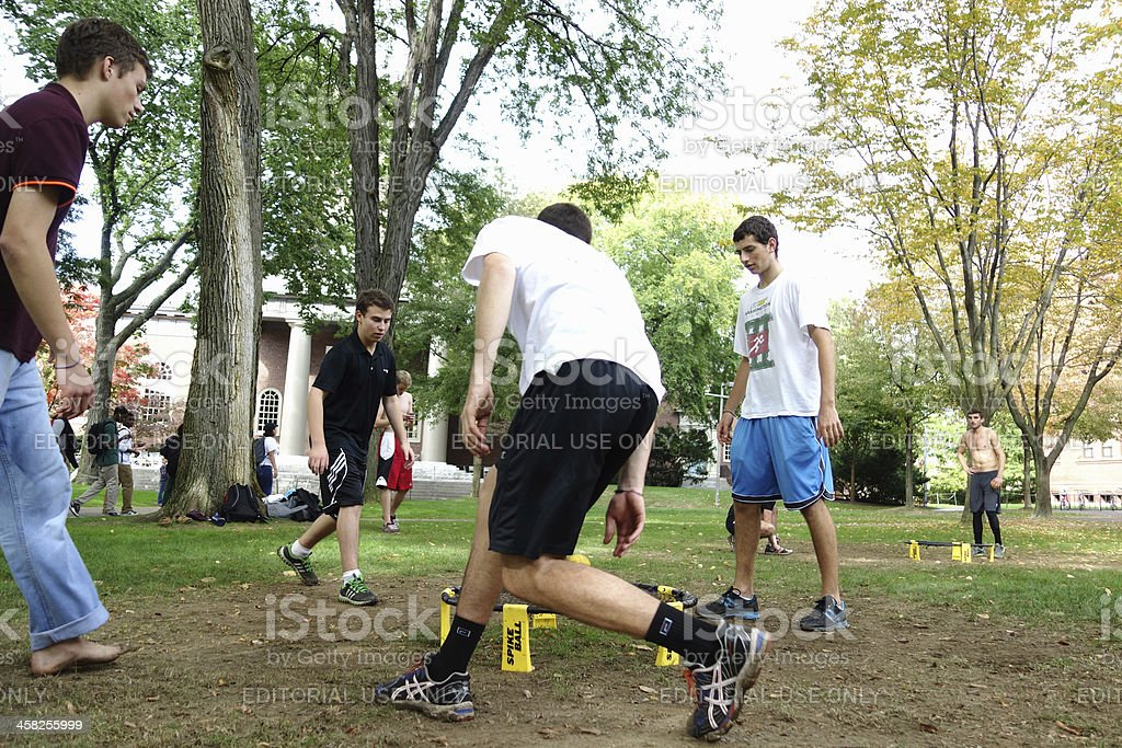Young men playing spike ball stock photo