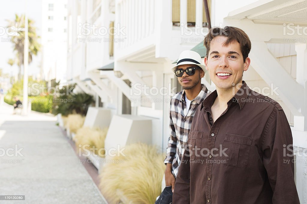 Young Men Texting royalty-free stock photo