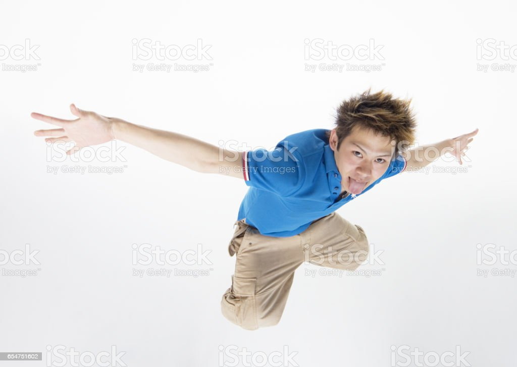 Young men to jump stock photo