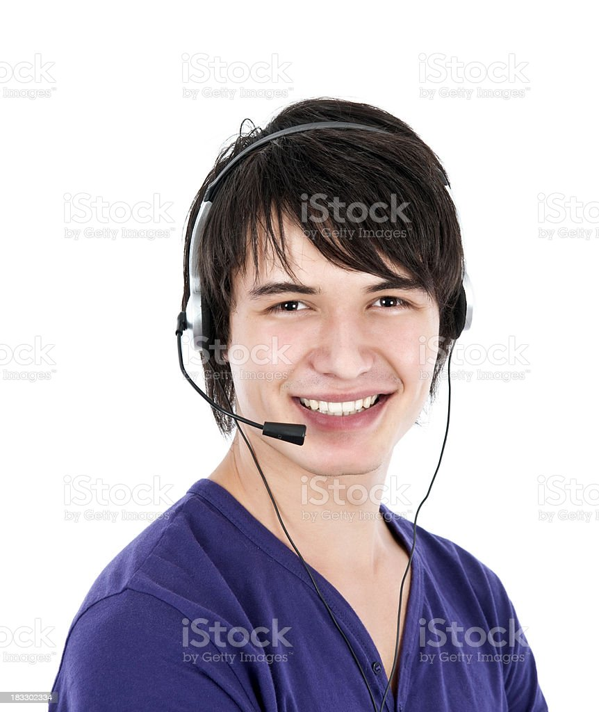 young men with headset stock photo