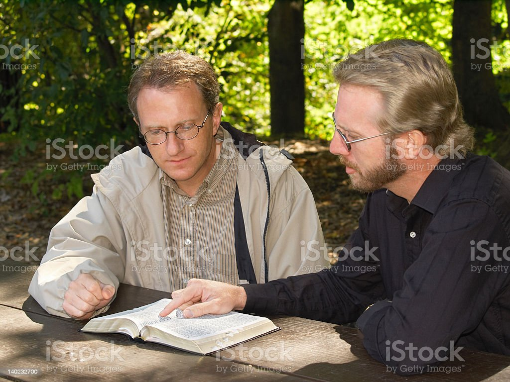 A young men's Bible study group  stock photo
