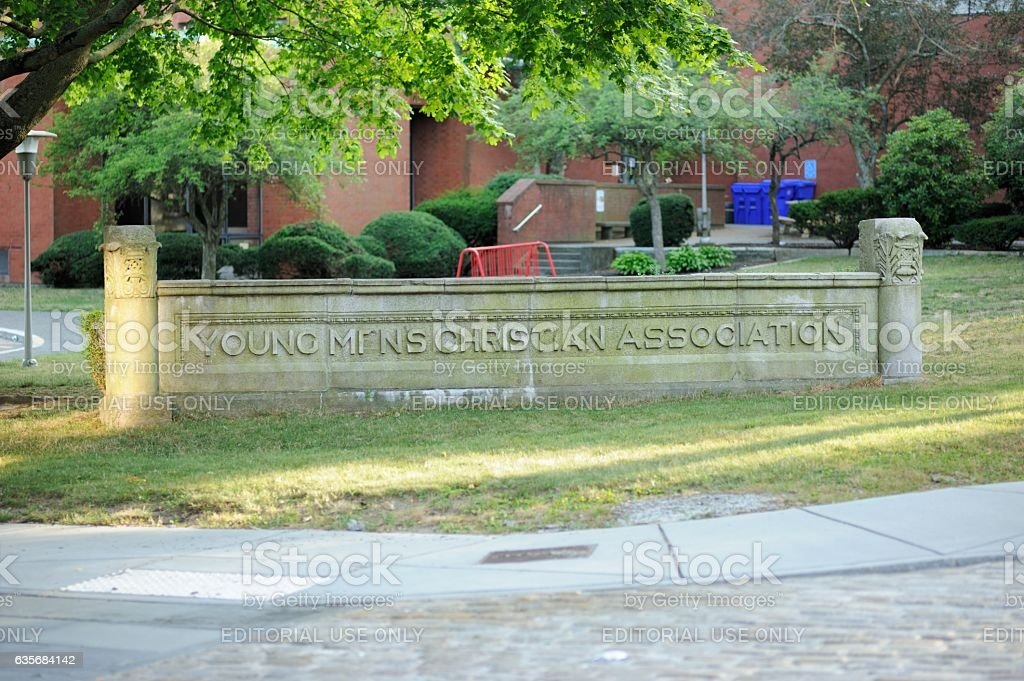 Young Mens Christian Association building with sign stock photo