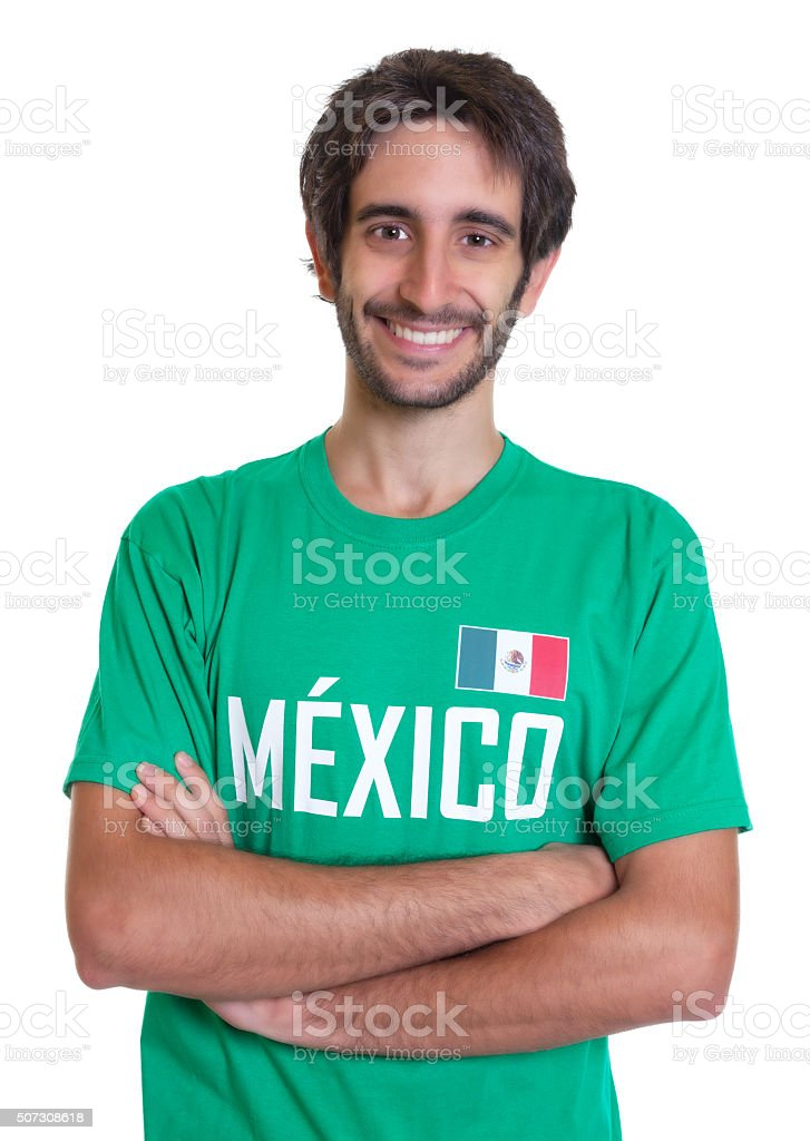 Young mexican sports fan with beard stock photo