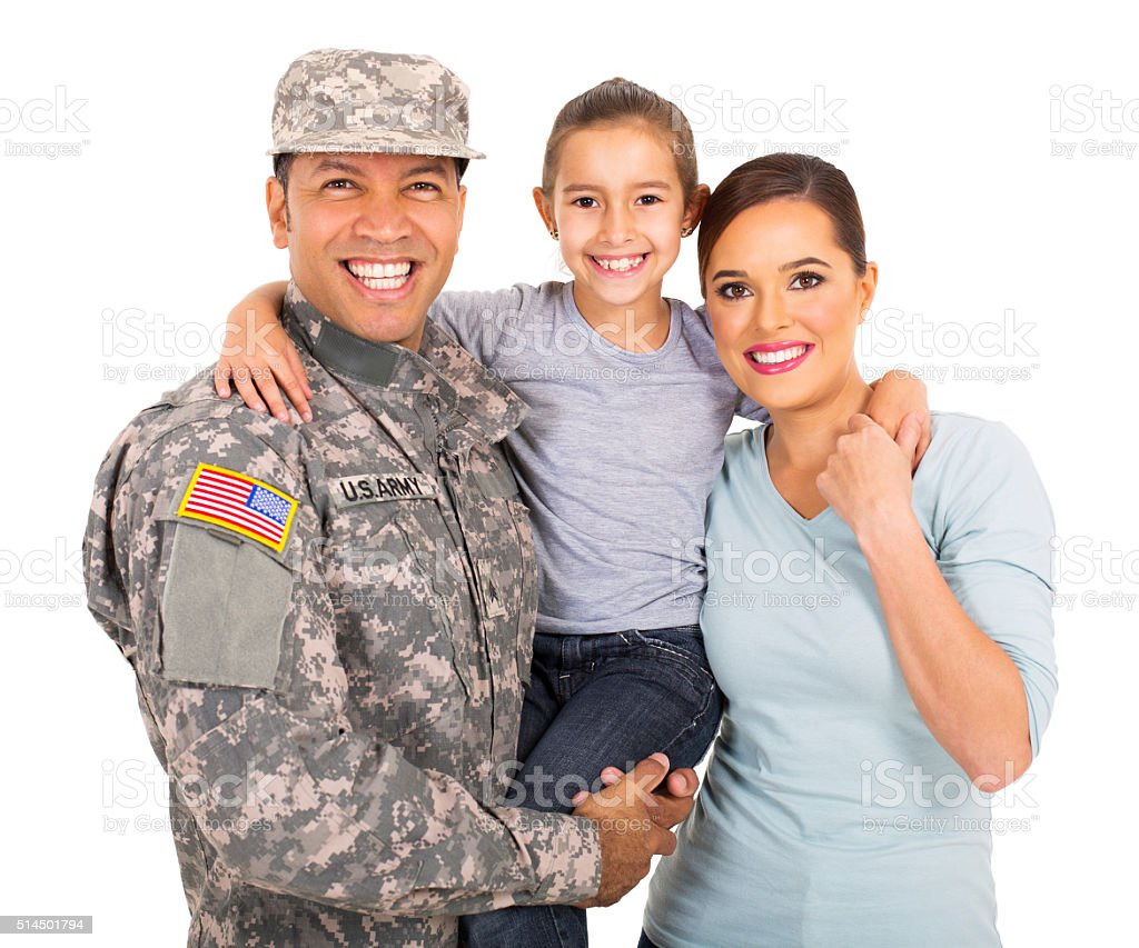 young military family of three stock photo