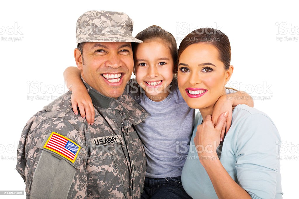 young military family portrait stock photo