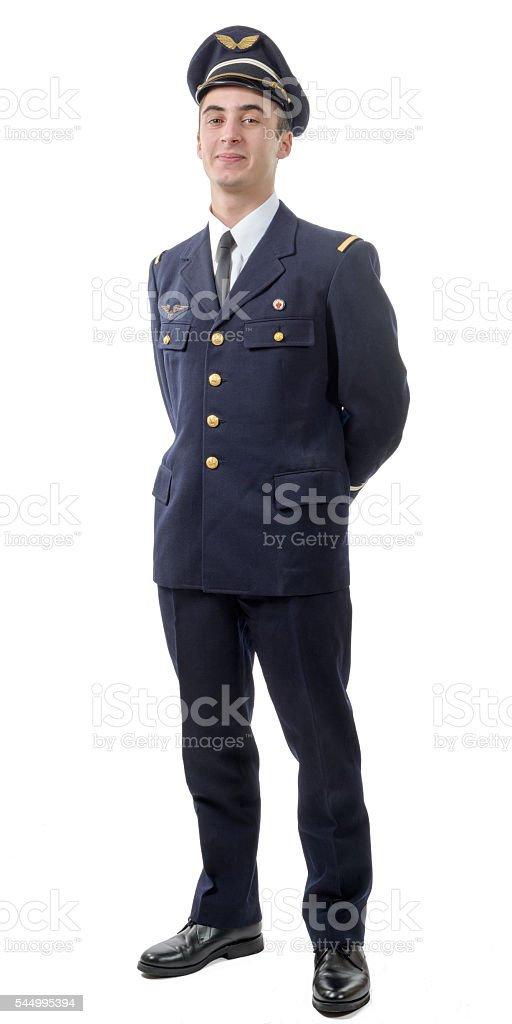 young military french pilot officer stock photo
