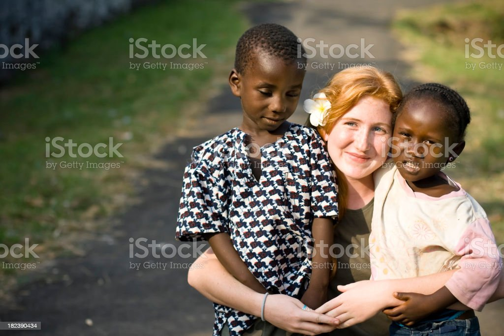 Young Missionary With African Children royalty-free stock photo