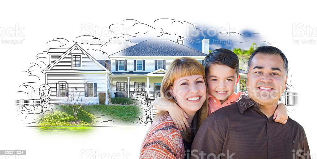 Young Mixed Race Family and Ghosted House Drawing stock photo