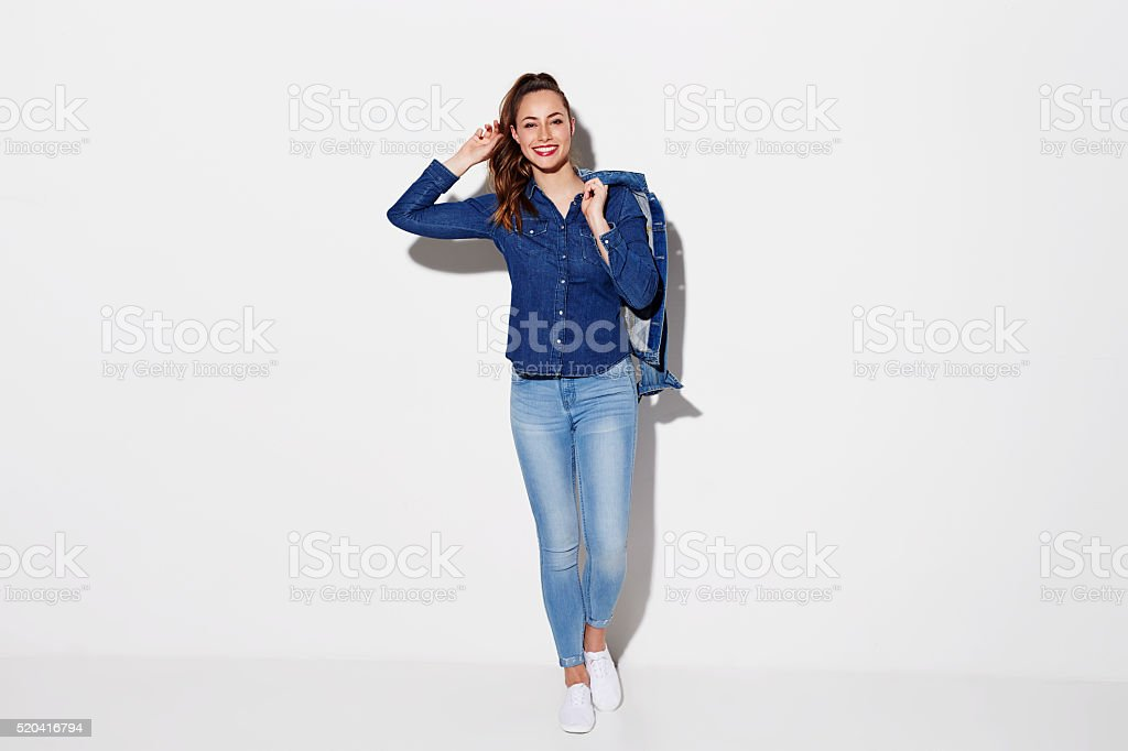 Young model in blue denim fashion, portrait stock photo