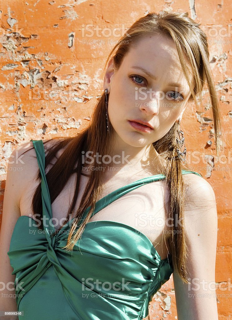 Young Model in Green Dress royalty-free stock photo