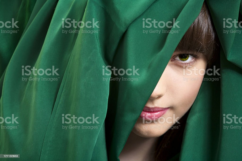 Young model in green headscarf royalty-free stock photo