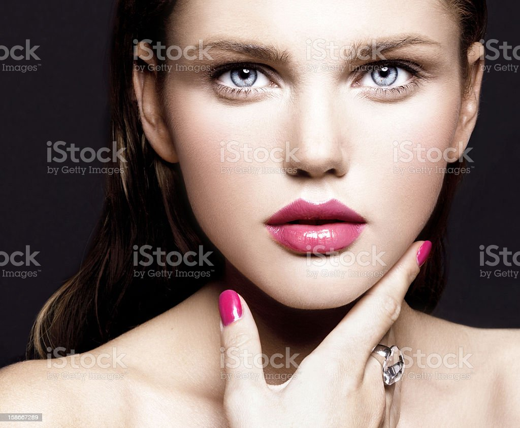 young model with make-up and manicure stock photo