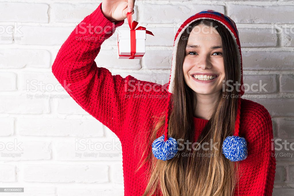Young Modern Girl with a Gift stock photo