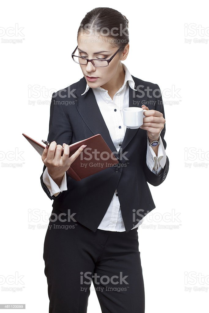 young modern professional businesswoman holding diary royalty-free stock photo