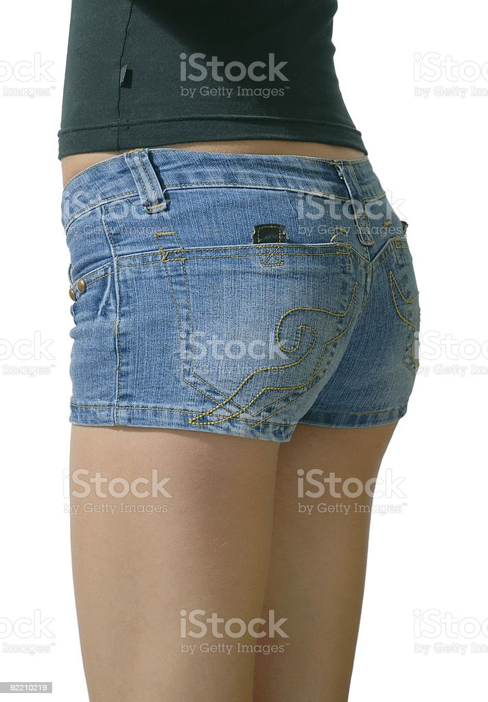 Young molel in blue jeans shorts royalty-free stock photo