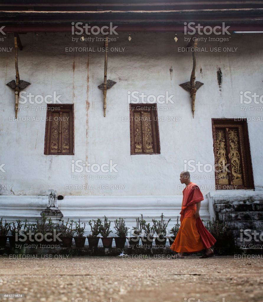 Young monk is walking in the monastery courtyard, Luang Prabang, Laos stock photo