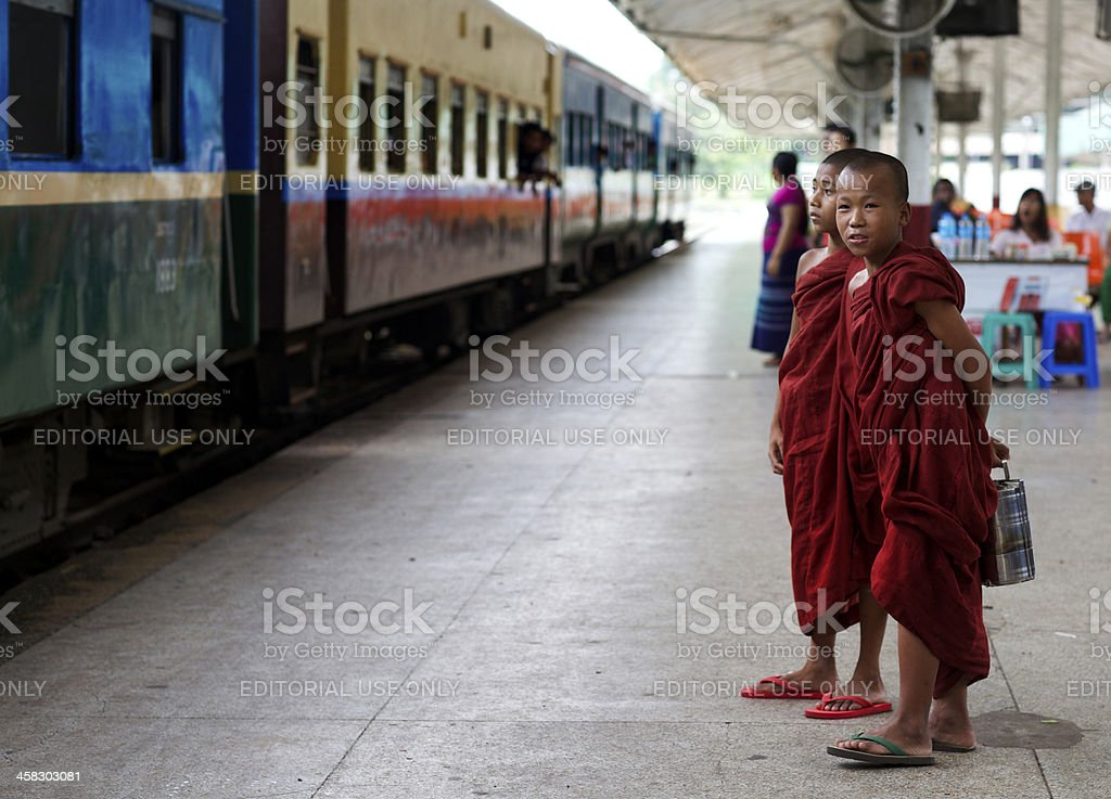 Young Monks in Myanmar royalty-free stock photo