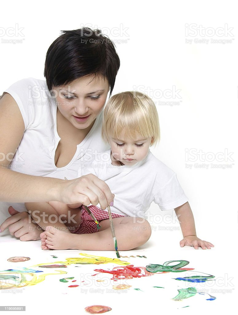 young mother and child painting over white royalty-free stock photo