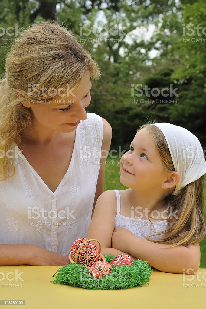 Young mother and daughter having Easter time royalty-free stock photo