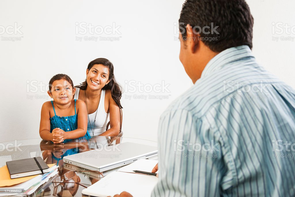 Young mother and daughter meeting a professional royalty-free stock photo
