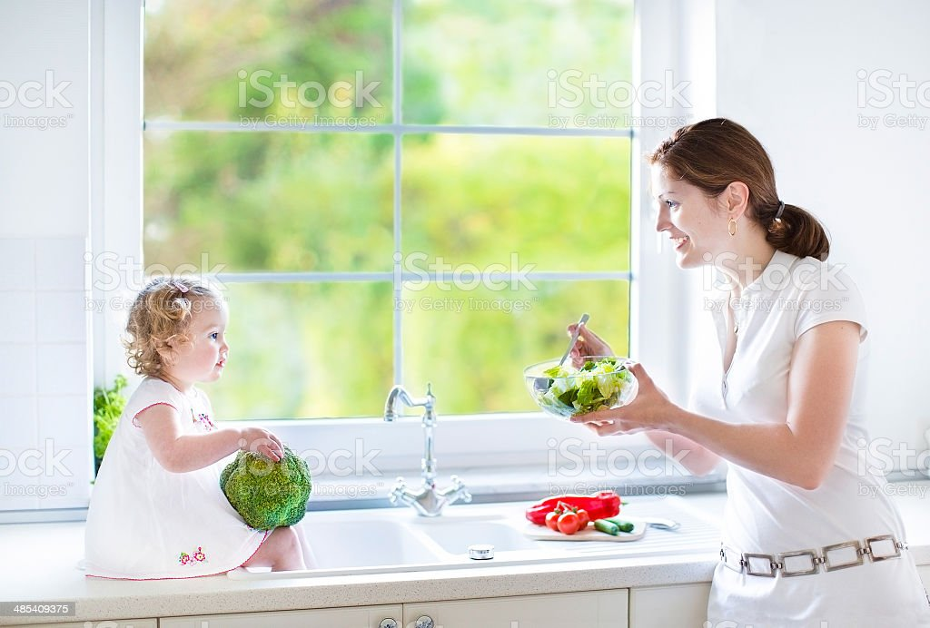 Young mother and her cute daughter cooking together in kitchen royalty-free stock photo