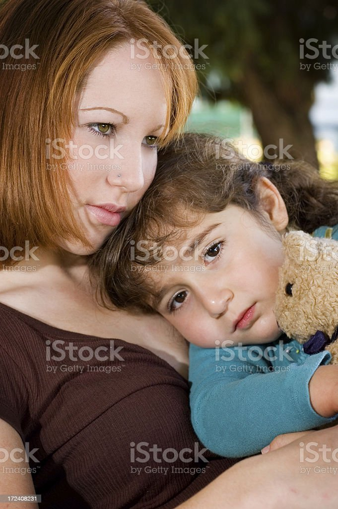 Young Mother Comforting daughter - series royalty-free stock photo
