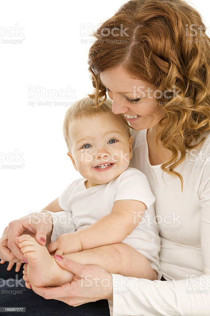 Young Mother Playing with Baby Boy royalty-free stock photo