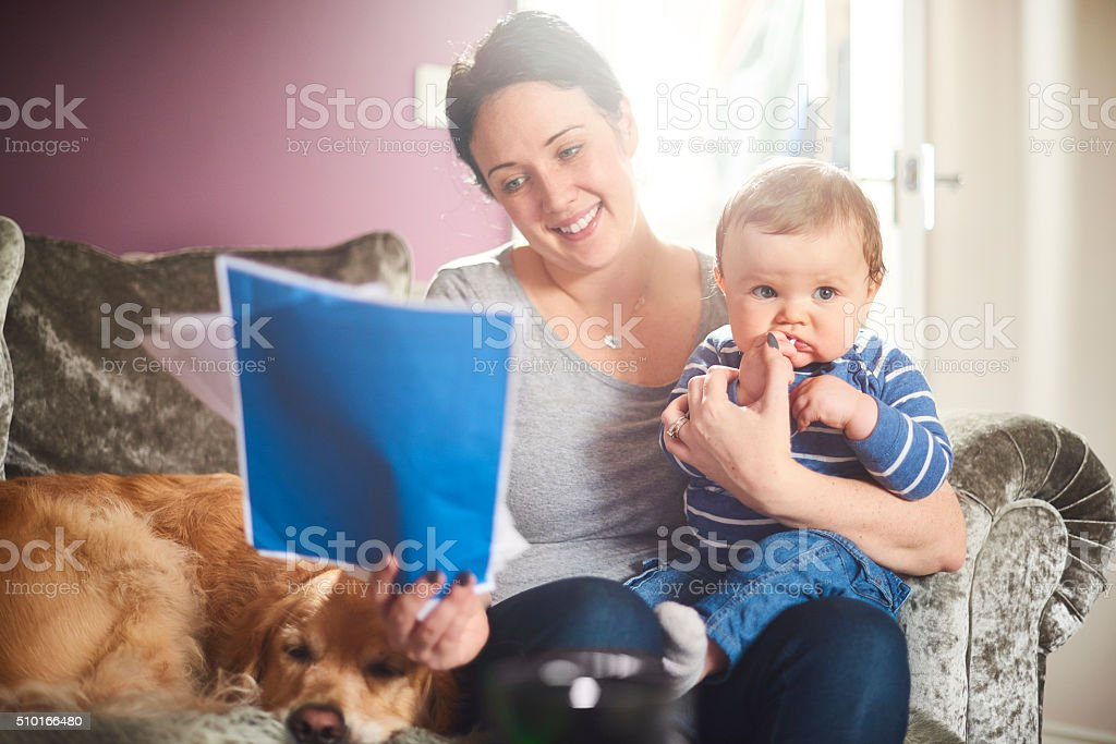 young mother reading her life insurance policy stock photo