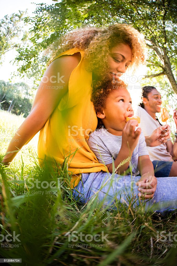 Young mother spending time in the sun stock photo