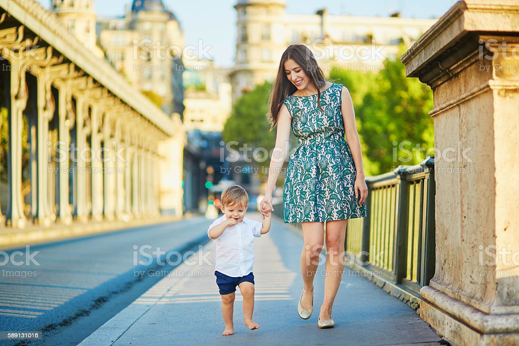 Young mother with her little son in Paris stock photo