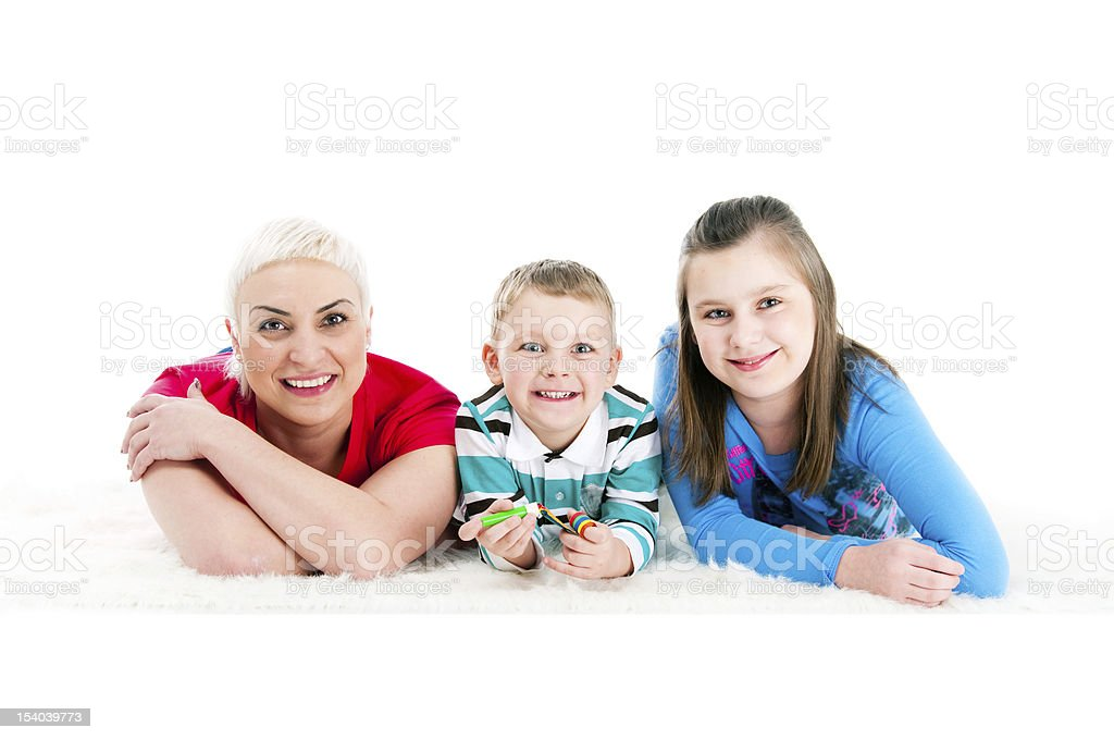 Young mother with two children royalty-free stock photo