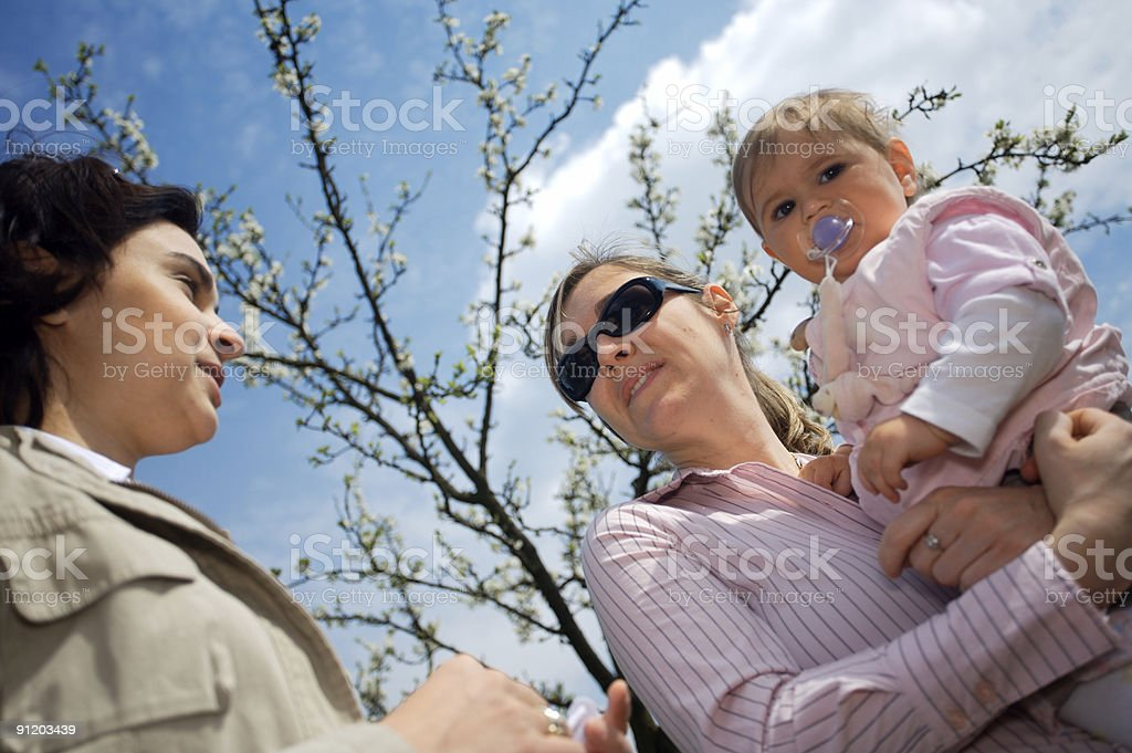 Young mothers talk royalty-free stock photo