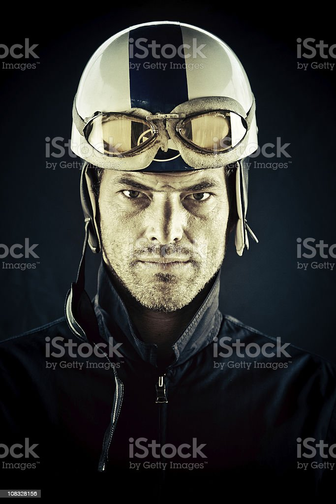 young motorcyclist with vintage helmet stock photo