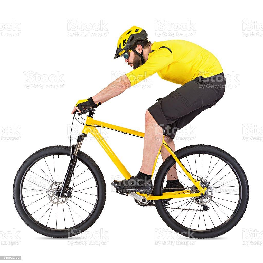 young mountain biker stock photo