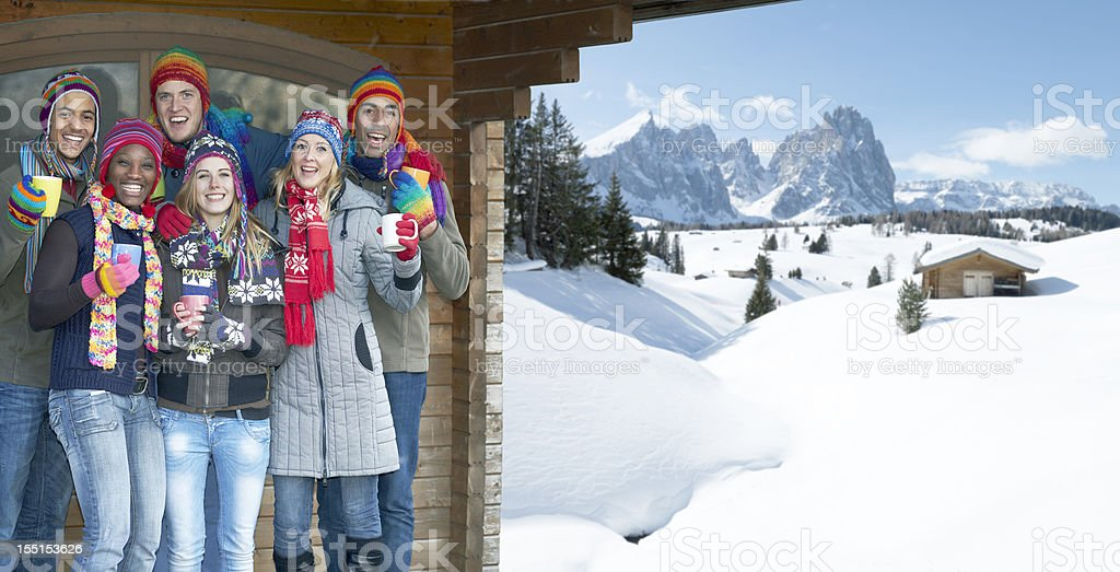 Young multi-ethnic group celebrating under cabin roof in snowy mountains stock photo