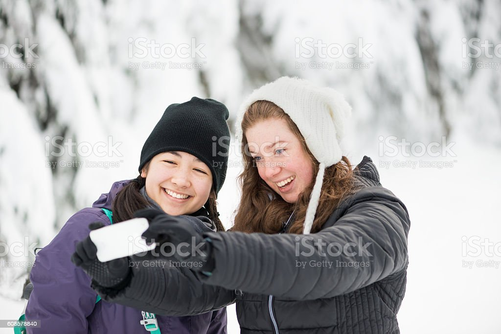 Young Multi-Ethnic Women Girlfriends Taking Selfie in Winter Forest stock photo