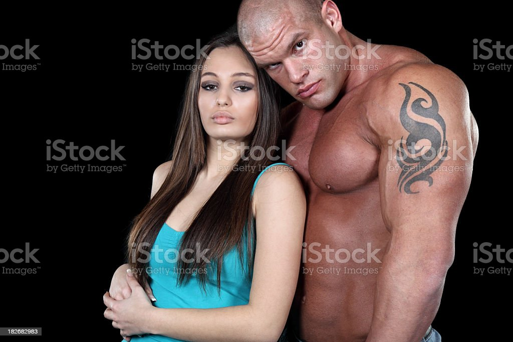 Young muscular couple in love royalty-free stock photo