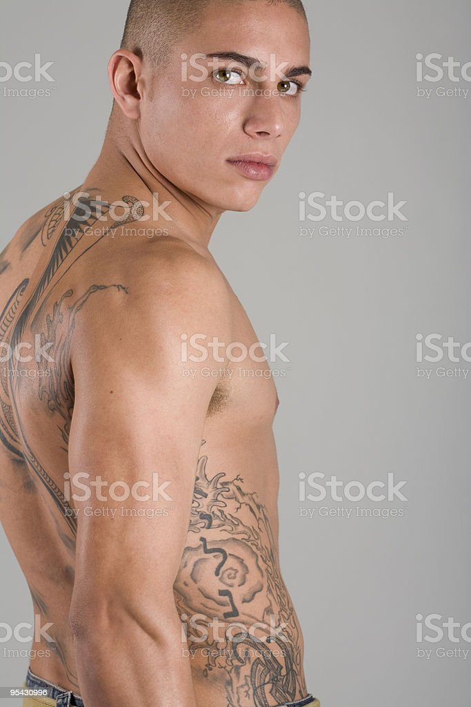 Young Muscular Tattooed Man stock photo