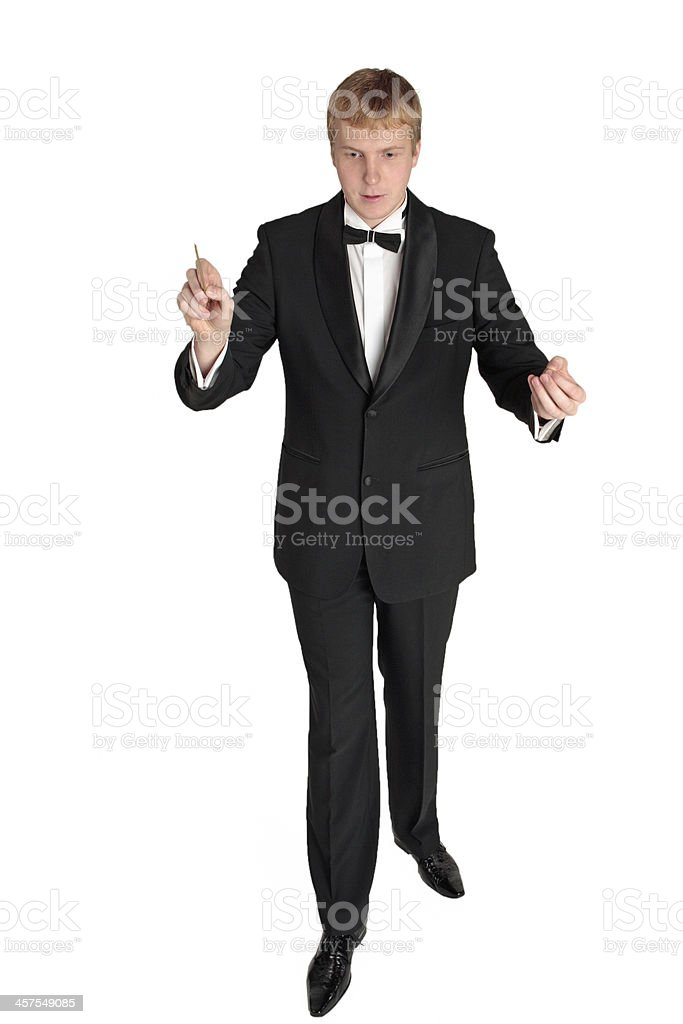 Young music conductor stock photo