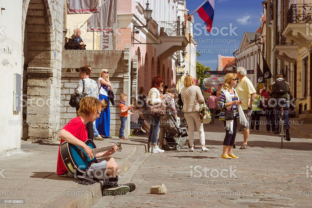 Young Musician in Tallinn, Estonia stock photo